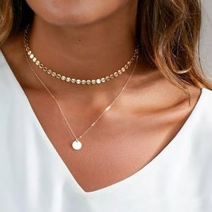 Jewelry - Double Layer Pendant Choker Necklace